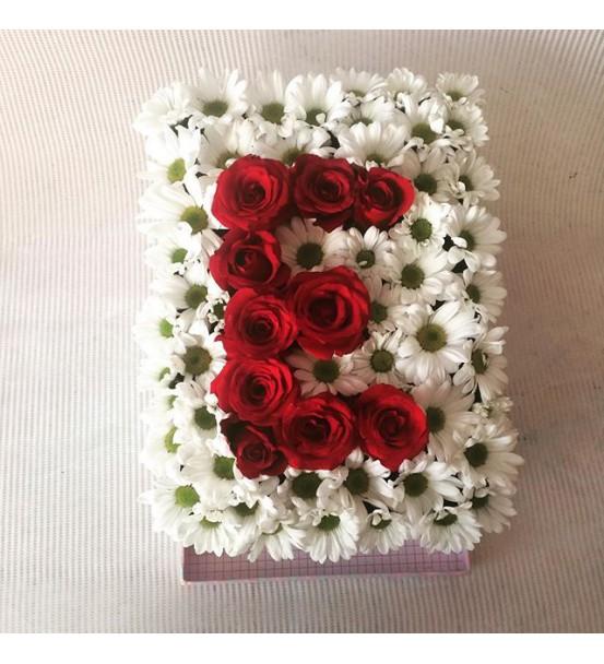Baş harfi papatya güller